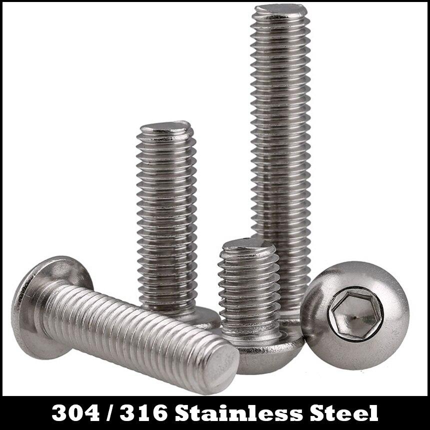 M4 M4 * 5/6/8/10/14 M4x5/6/8/10/14/304 acero inoxidable 316 304ss 316ss DIN7380 hongo redondo hexagonal zócalo tornillo de cabeza de botón