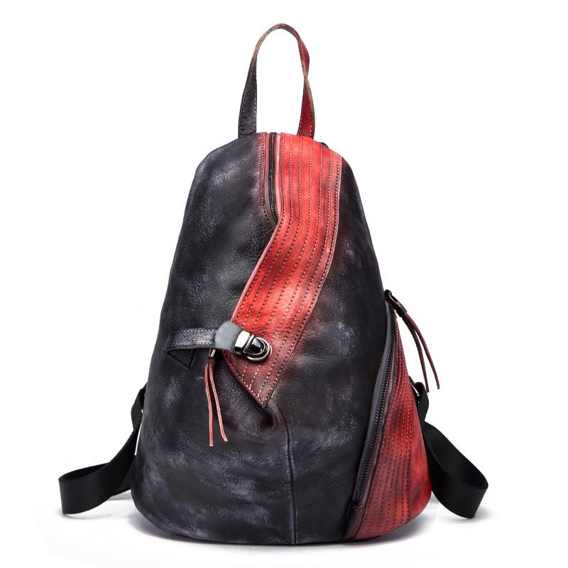 High Quality Unisex Rucksack Travel Daypack Casual Women Men Brush Color Bag Retro Knapsack Cowhide Genuine Leather Backpack