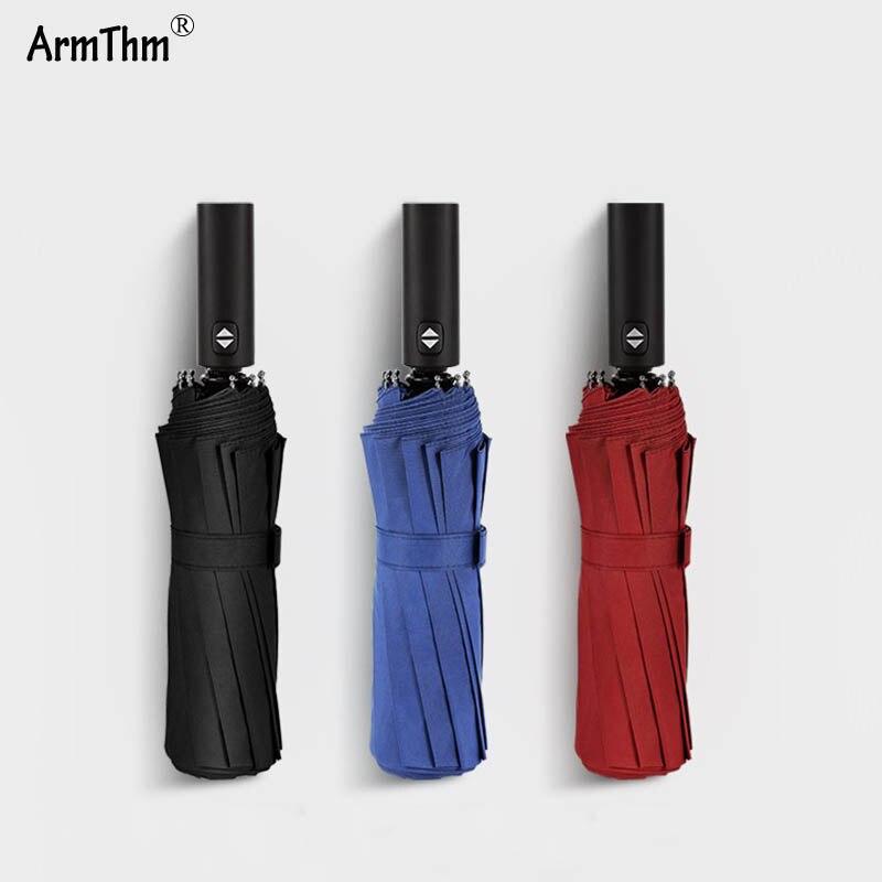 12 costillas mujeres hombres paraguas fuerte resistente al viento plegable automático lluvia/sombrillas de playa negocios portátil Parasol de mango largo