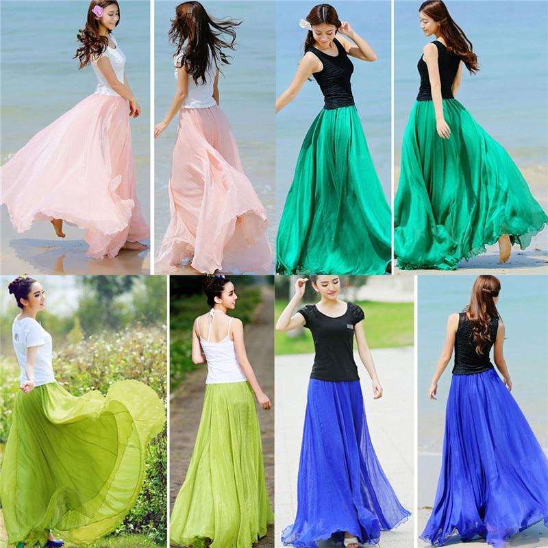 2018 Fashion Design Summer Women Chiffon High Waist Skirt Vintage Long Skirts Elastic Waist Boho Maxi Skirts Beach Clothing
