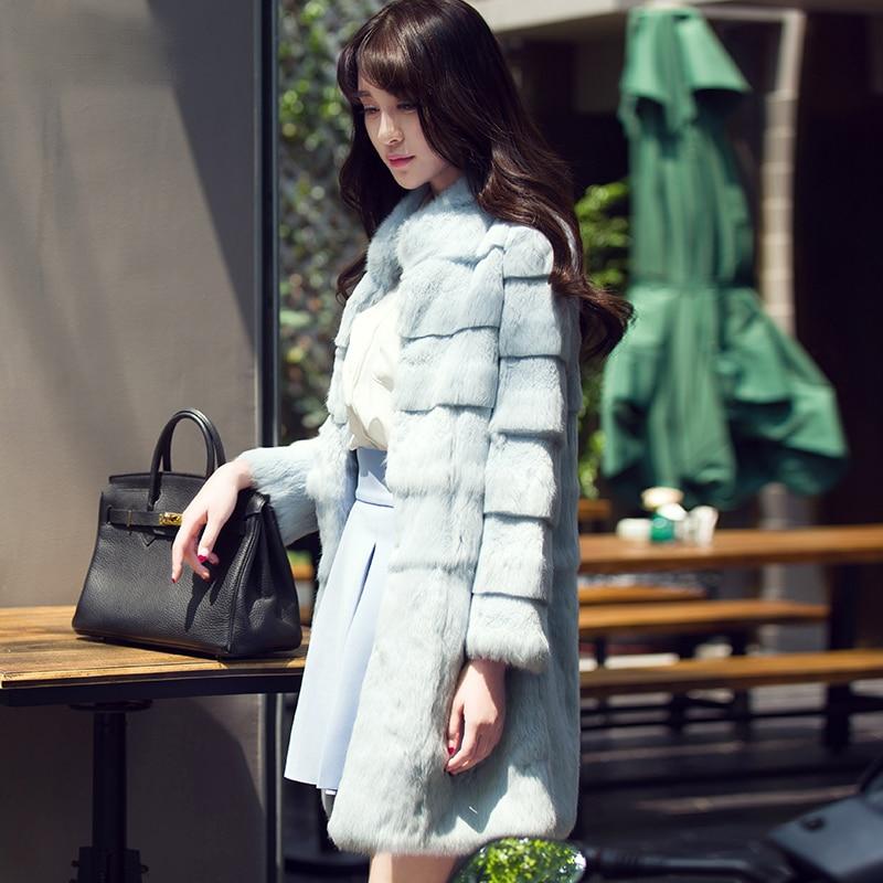 Long design wave cut stand collar natural rabbit fur winter coat women slim warm real fur jacket outerwear new arrival