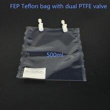 Ozon dayanıklı örnekleme çantası, ozon gazı toplama çantası, FEP Teflon çanta PTFE çift vana 500ml