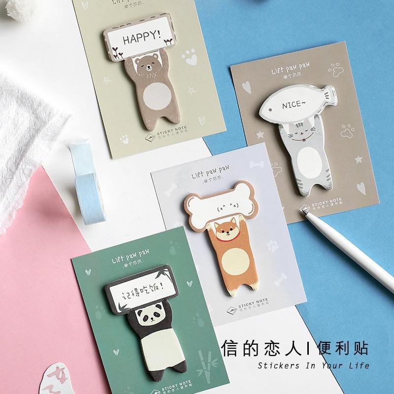 4 unids/set Kawaii Animal levantar la pata nota auto-adhesivo nota marcador de almohadilla pegatinas papelería
