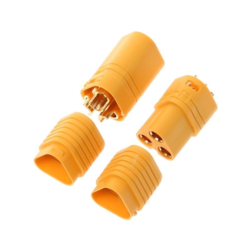 Alta qualidade 1 par mt60 3.5mm 3 pólo bala conector plug conjunto para rc esc para motor