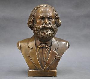 Antiguo 7 alemán gran comunista Carl retrato Marx Engels Lenin Stalin Marx busto estatua de latón decoración fábrica de latón outlet