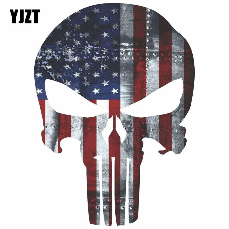 Светоотражающие автомобильные наклейки YJZT, цвет флага снайпера США, Размер 9,6 см х 13,2 см, C1-6007