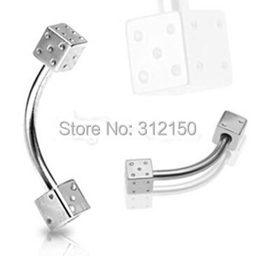 SaYao 1 pieza envío gratis 1,2*8*3 1,2*10*3 Stainlessl de acero dados ceja anillo dados piercing para el cuerpo anillos para los ojos