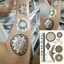 Autocollants de tatouage de peinture dart corporel en métal or argent tatouage flash temporaire aigle tatouages tribaux indiens jetables VT338