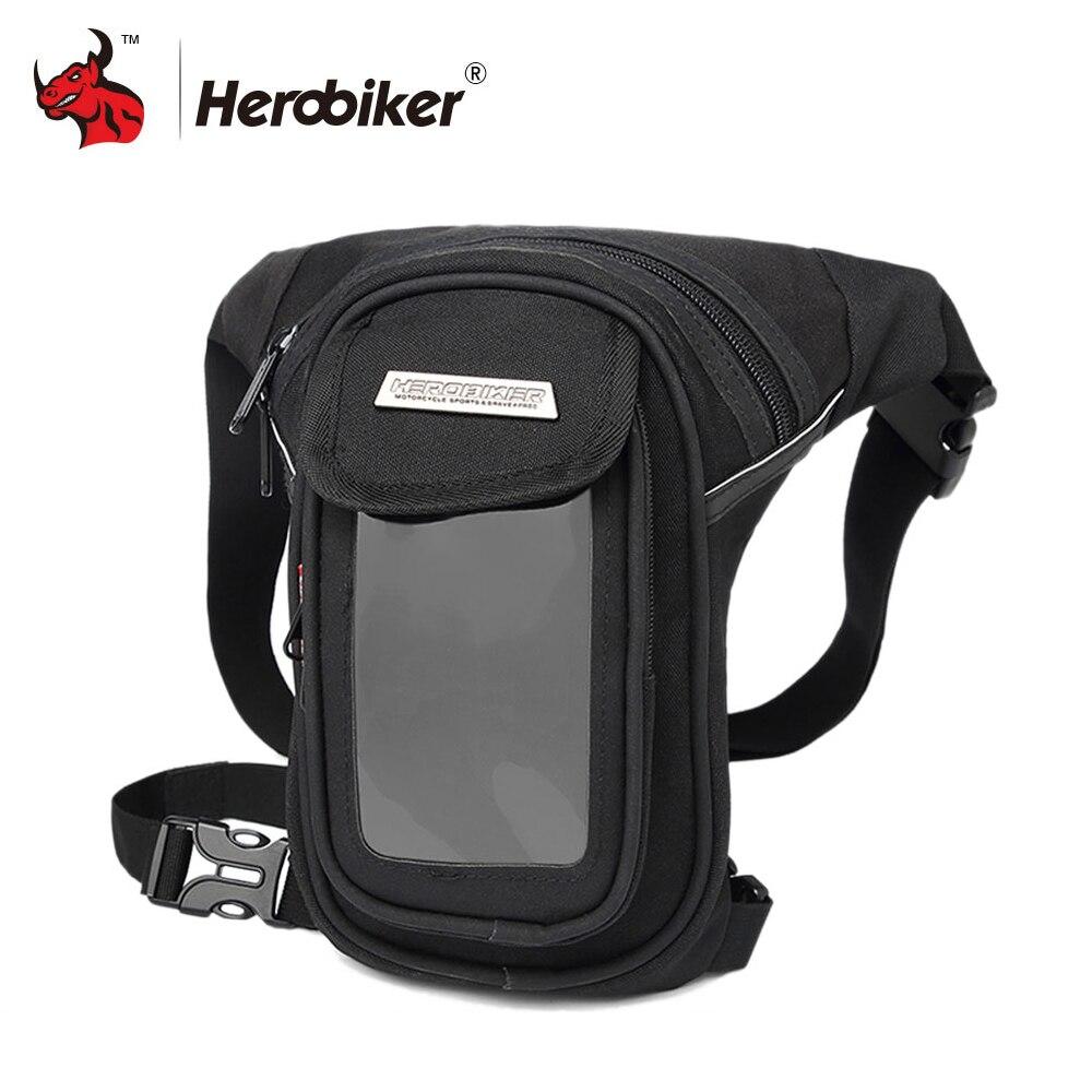Bolsa de Moto HEROBIKER impermeable, bolsas de pierna de muslo para Moto, bolsa de bolsillo para la cintura, bolsa de paquete al aire libre, Bolsas laterales para Moto