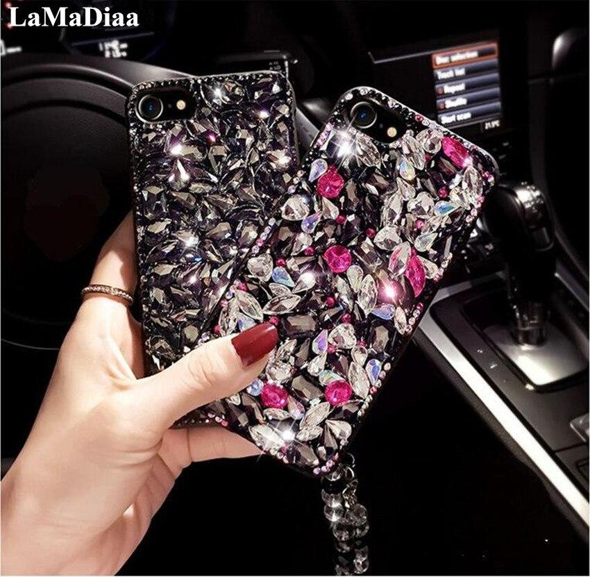 Para iPhone X XS X MAX XR 5 5 5 6 6 7 8 Plus primer de lujo lindo de brillo diamante tipos de funda para diamantes de imitación de cristal largo correa de cadena