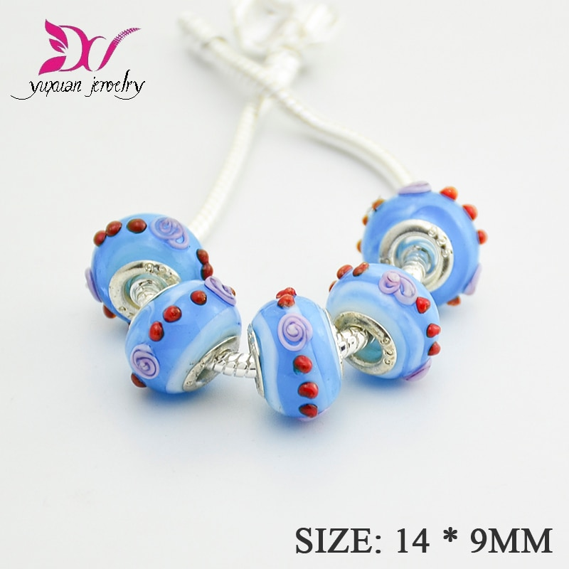Amuleto de cuentas de vidrio para mujer, amuleto europeo de cristal, compatible...