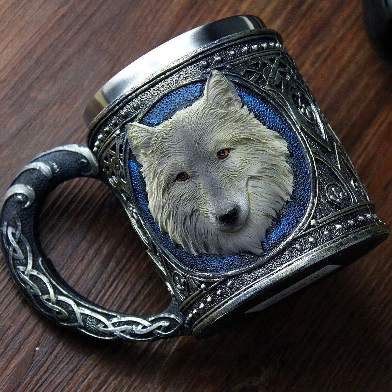 Taza de beber de Lobo, forro de resina de acero inoxidable, diseño de lobo Retro 3D, copa de vino