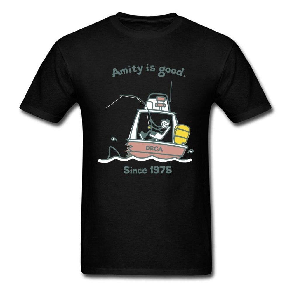 Amity Is Good 1975, camiseta para hombre, camiseta de dibujos animados, camisetas divertidas de EE. UU., ropa de verano de ocio, camiseta de mandíbulas de algodón