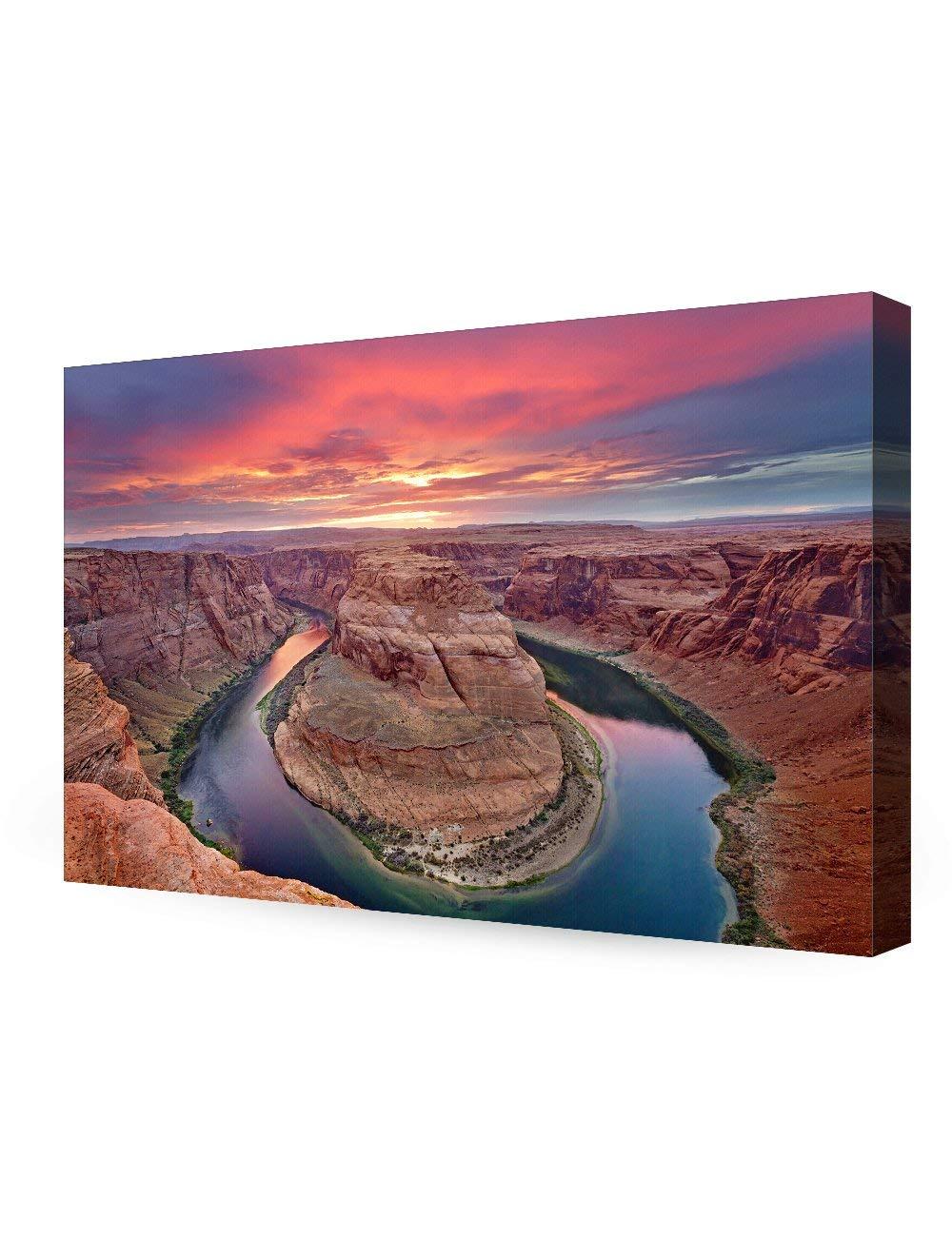 Curva de ferradura, o Grand Canyon, no Arizona. Giclée Cópias Da Lona para a Decoração Da Parede, Pronto para Pendurar o transporte Da Gota