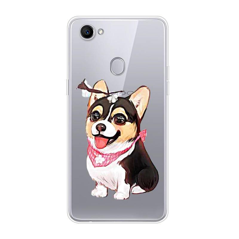 De dibujos animados perro feliz OPPO F7 teléfono móvil Shell ¡Material de TPU pintado hermoso Color pintura Case.19 colores!