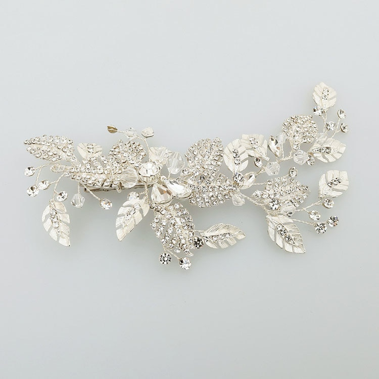Slbridal artesanal de prata cor strass cristal flor casamento grampo de cabelo barrette nupcial headpiece pente de cabelo acessórios femininos