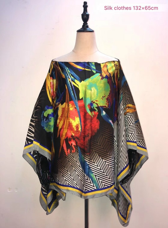 African clothes for women Size 132cm width x 65cm length Printed silk summer top 2019 popular Younger girls beach silk top