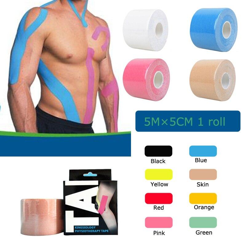 Qiiwi Qualidade 5 cm * 5 m rolo de algodão elástica adesiva kinesio tape Esportes lesão muscular tensão proteção fitas de primeiros socorros apoio bandagem