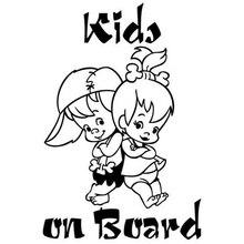 12.7 * 19cm Children On Board Cartoon Warning Car Sticker Vinyl Window Decoration