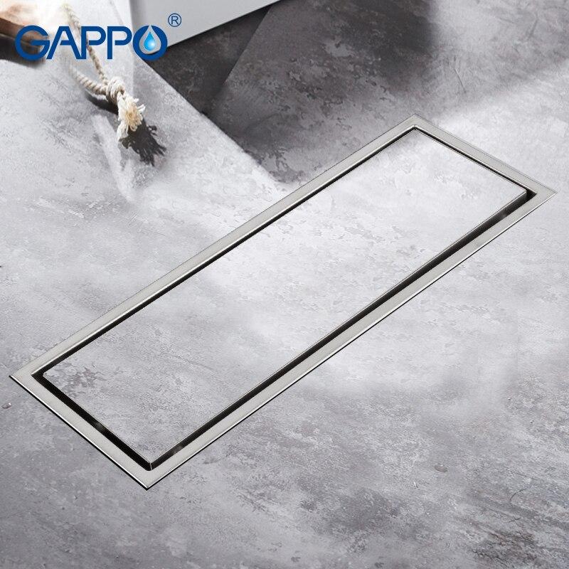 GAPPO Drains stainless steel recgangle floor cover bathroom waste drain shower drain strainer anti-odor water drains strainer