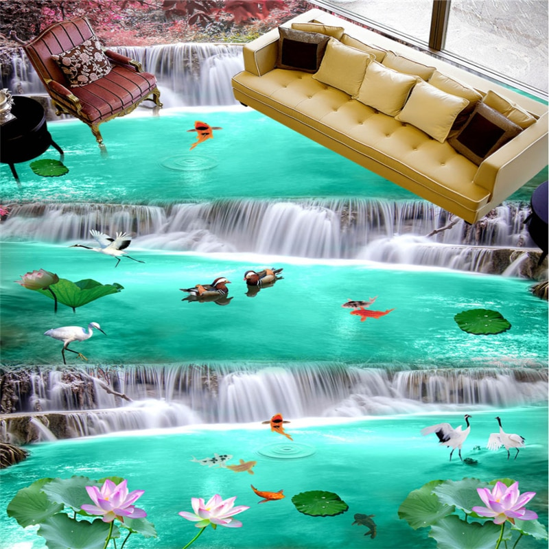 Beibehang suelo grande personalizado hermosa cascada de hadas de nueve peces 3D baldosas estereoscópicas para dibujar