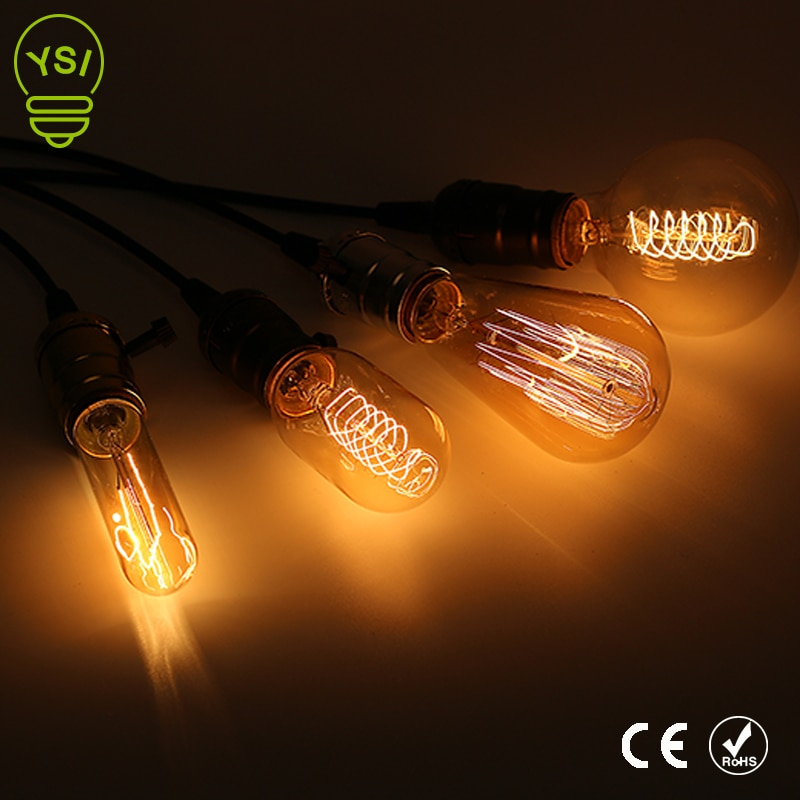 10 unids/lote Retro Vintage Edison filamento lámpara 220V lámpara colgante bombilla E27 Edison filamento lámpara incandescente