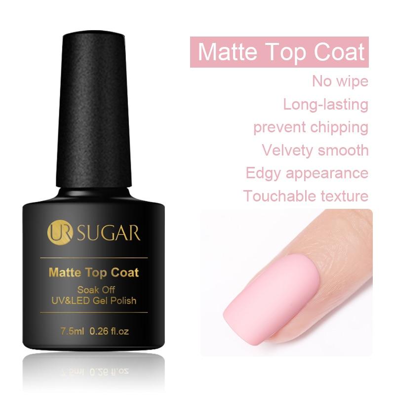 UR SUGAR 7.5ml Matte UV Top Coat No Wipe Soak Off Nail Art Gel Polish 1 Bottle