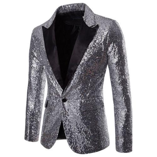 Los hombres lentejuelas chaqueta diseños de talla grande 2XL de terciopelo negro oro lentejuelas Chaqueta de traje de escenario DJ Club boda fiesta ropa