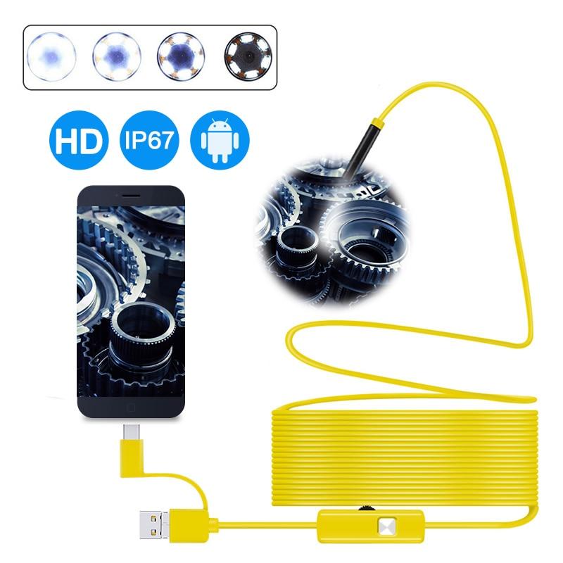 Lente de 7mm, endoscopio 3 en 1 HD 720P, USB OTG, endoscopio de serpiente, resistente al agua con 6 LEDs, cámara de tubo de inspección para teléfonos Android y PC