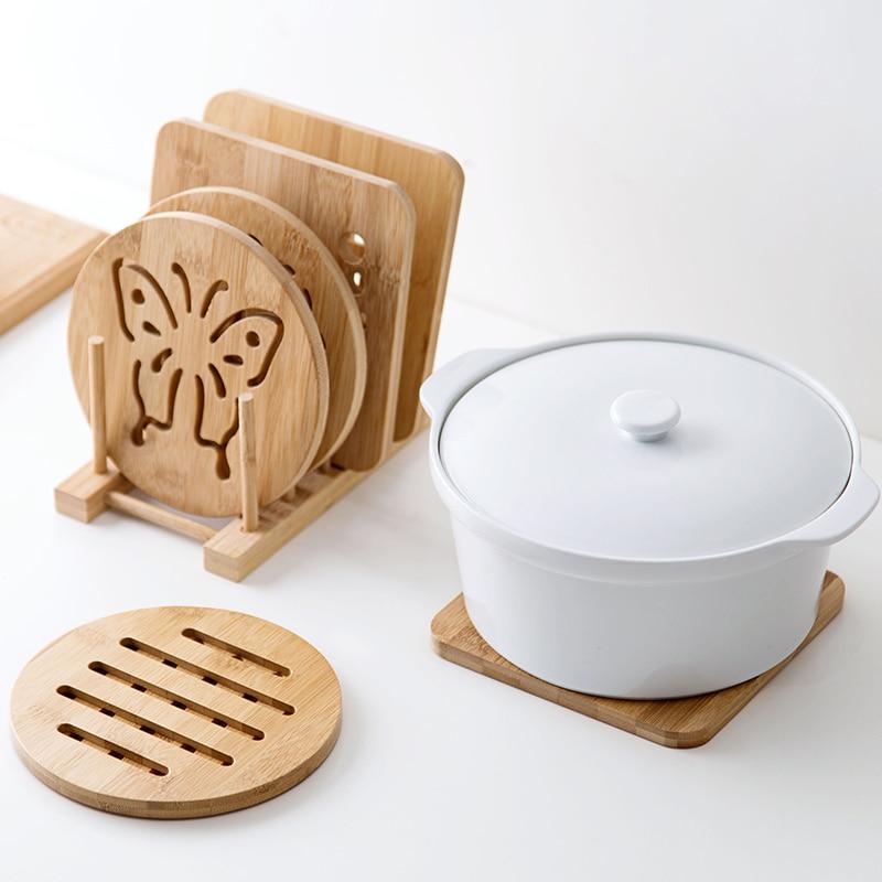 Posavasos de bambú de estilo japonés almohadilla de aislamiento de agua Mantel Individual en casa tapete antideslizante para olla accesorios de cocina