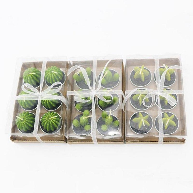 3 uds. Vela de Cactus sin derrames, velas decorativas de té para la fiesta de Navidad de Halloween, velas de cumpleaños para la decoración de la boda