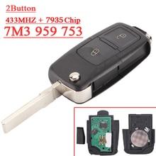 Clé à 3 boutons 7M3 959 753   Livraison gratuite, 1 pièce), clé à télécommande 7M3 433 avec MHZ pour vw (7M3959753)
