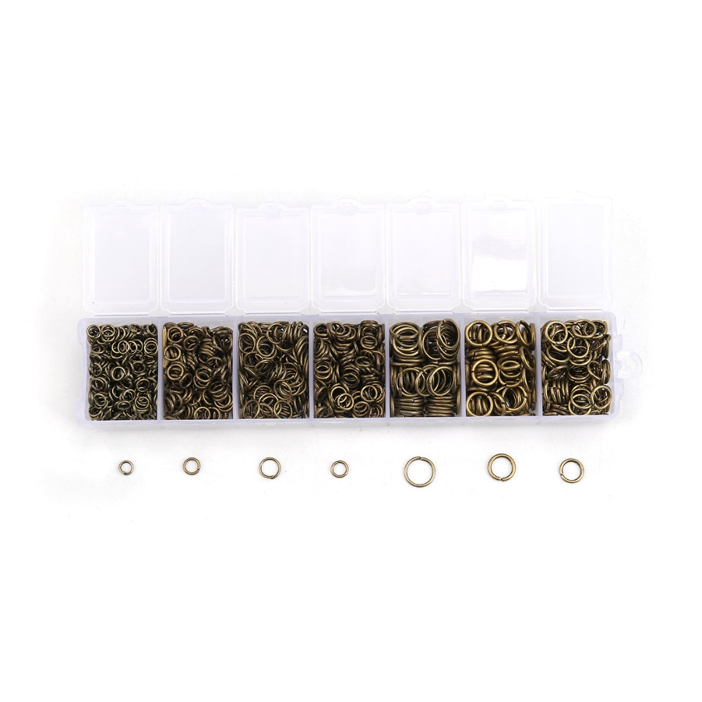 DoreenBeads 1510 Uds. Anillos abiertos de tono bronce Mixto 4-9mm (B13000)