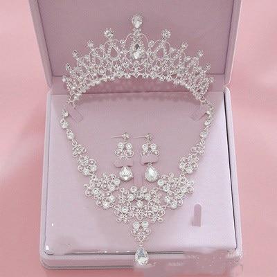 الزفاف اكسسوارات مجوهرات ثلاثة قطعة تاج القرط قلادة مجوهرات بلينغ بلينغ اكسسوارات الزفاف رخيصة بيع السيدات حزب