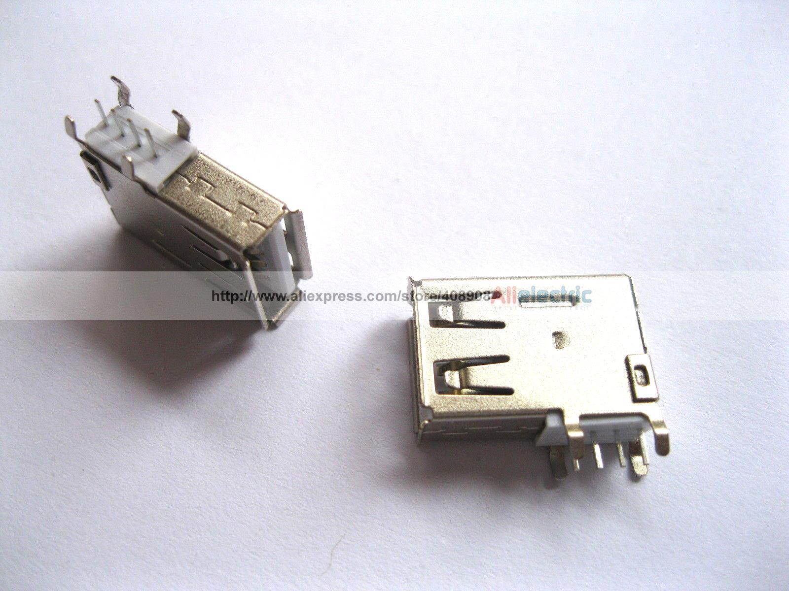 300 Pcs USB 4 Pin Female Connector Side AF DIP 90 Degree ASSY L