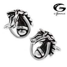 iGame 1 pair Fashion Cuff Links Black Color Novelty Brass Hippocampus Design Free Shipping