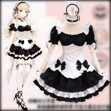 Noir blanc chocolat femme de chambre Costumes français nœud papillon femme de chambre filles femme Amine Cosplay Costume serveuse fête Costumes