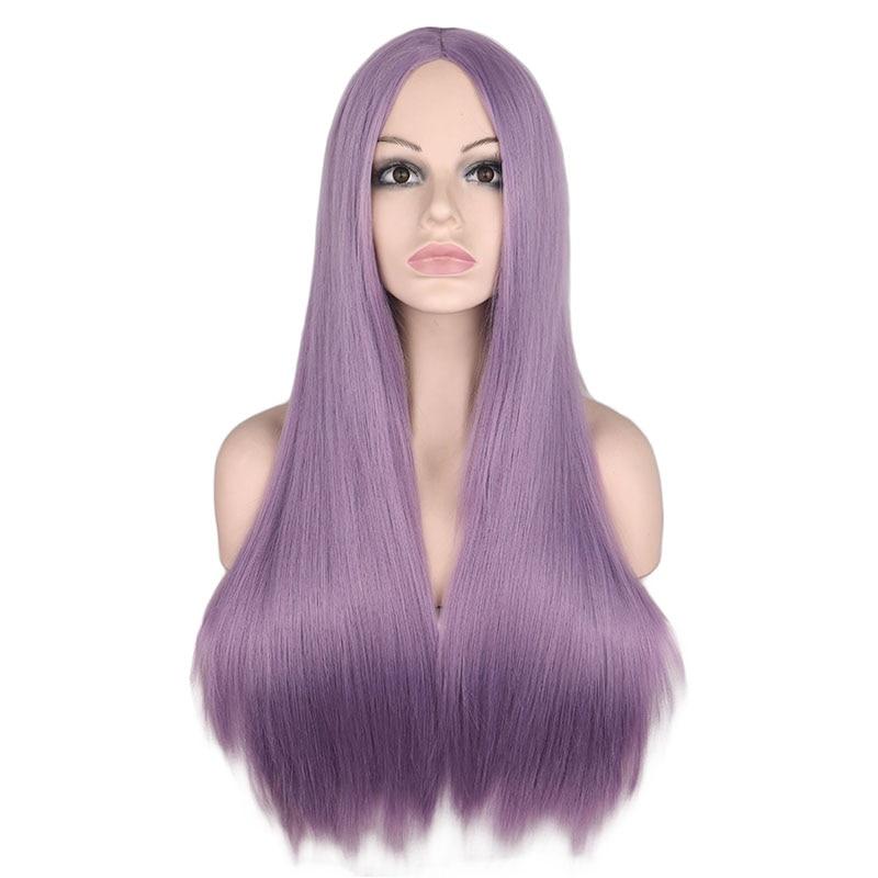 QQXCAIW peluca larga recta de la parte media para las mujeres negro blanco rosa naranja púrpura gris pelo resistente al calor pelucas de pelo sintético