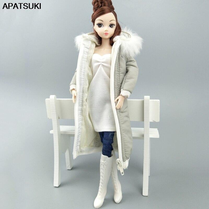 Серая зимняя одежда, длинное пальто для куклы Барби, одежда, платье, наряды, парка для 1/6, BJD, куртка для куклы, 1:6, аксессуары для кукол, детская игрушка