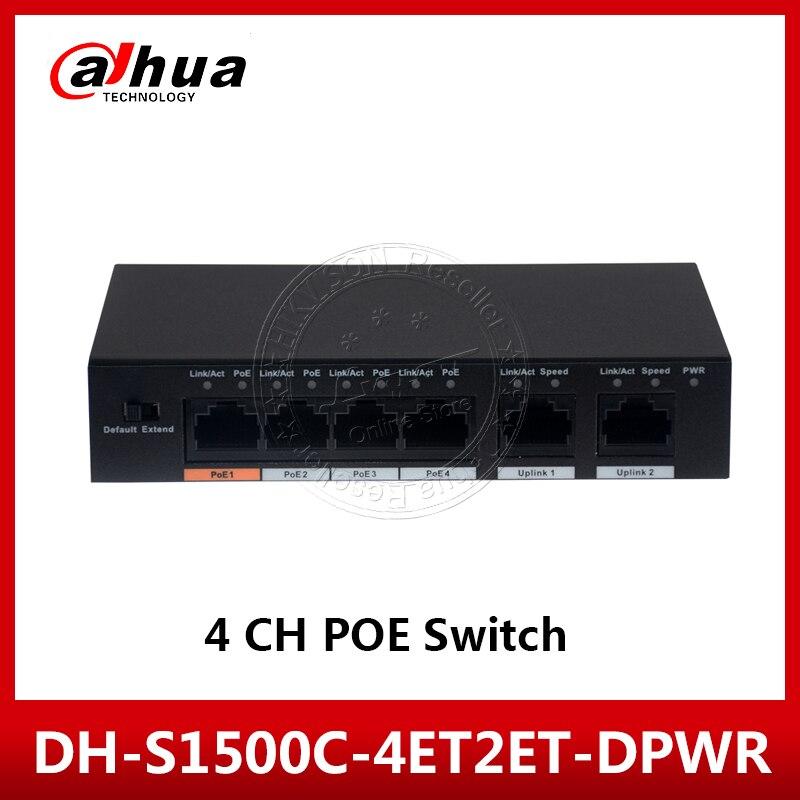 Dahua 4 puertos interruptor de PoE, DH-S1500C-4ET2ET-DPWR 4CH Ethernet interruptor de potencia apoyo 802.3af 802.3at POE POEPower de 100MBS