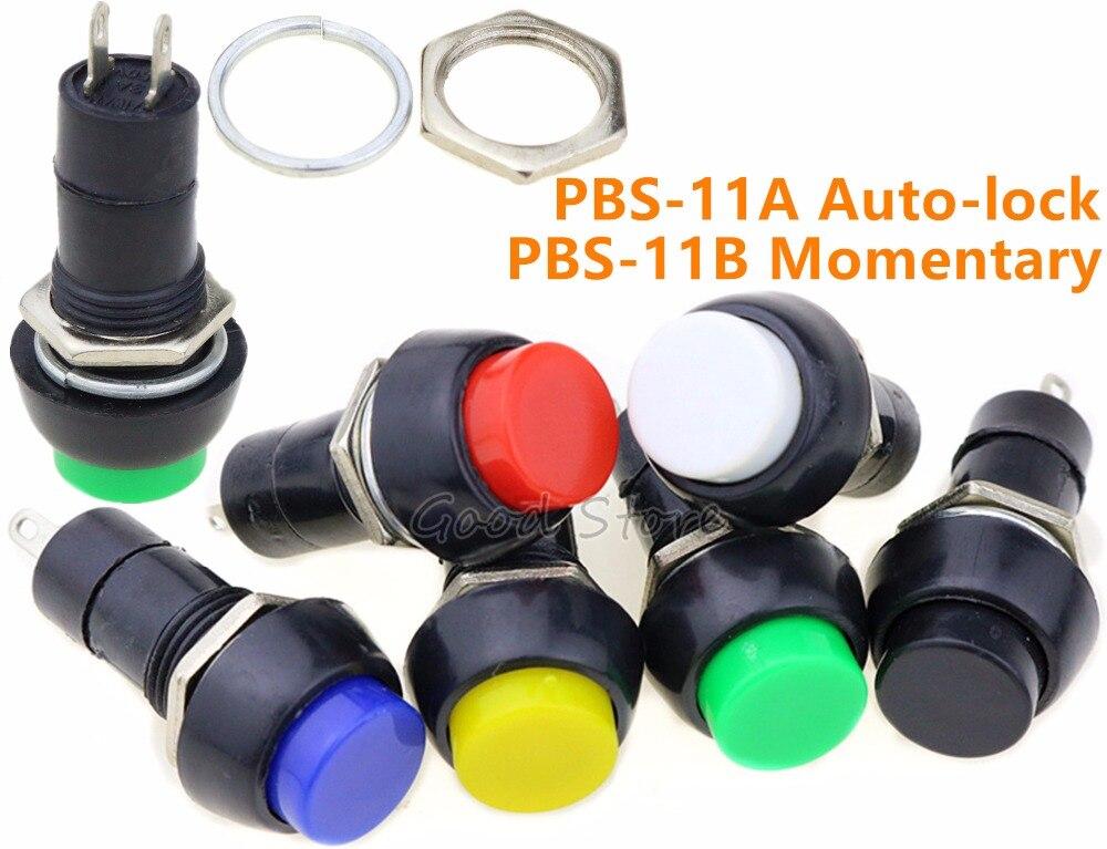 1 pçs PBS-11A PBS-11B push auto-bloqueio momentâneo interruptor de botão verde/vermelho cores interruptor elétrico para diy modelo que faz