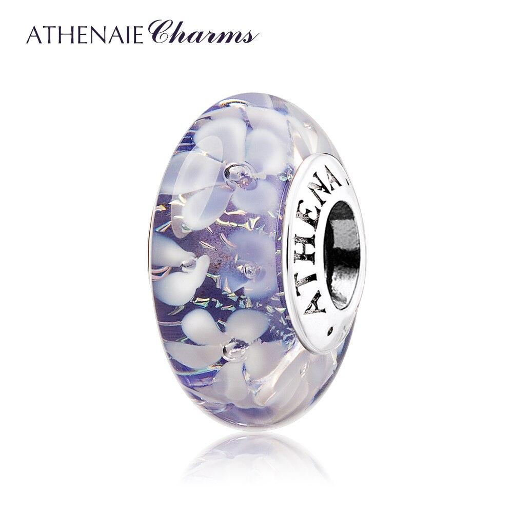 ATHENAIE مورانو الزجاج 925 الفضة الأساسية الأرجواني زهرة حديقة الخرزة Charms اللون الأرجواني صالح سوار لفتاة النساء مجوهرات الزفاف