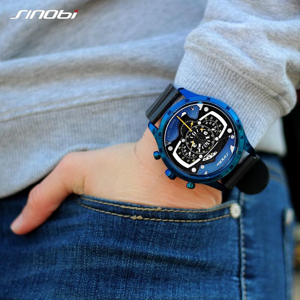 ساعة يد إبداعية للرجال من Relojes Hombre SINOBI ، كرونوغراف سيليكون ، سباق سريع ، وقت رياضي ، ساعة يد