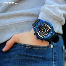 Relojes Hombre SINOBI voiture créative hommes montre hommes mode vitesse course Sport temps chronographe Silicone montres Quartz montre-bracelet
