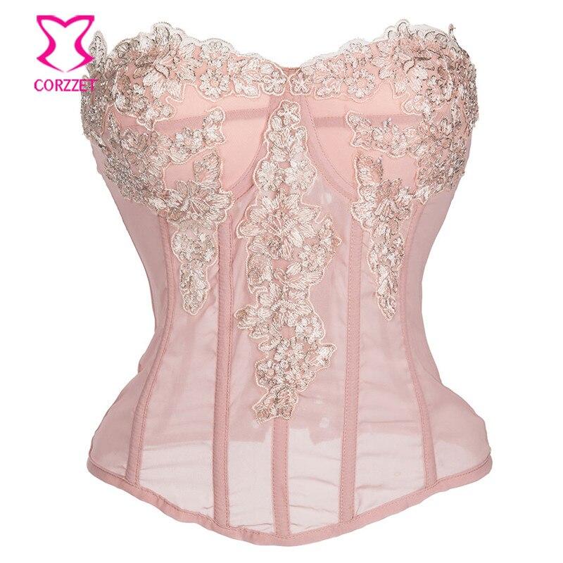 Корсет Corzzet, розовый кружевной с цветочной аппликацией, сексуальное нижнее белье, корсет со шнуровкой, корсет в стиле стимпанк, одежда, готический корсет
