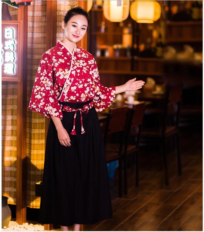 Uniforme de cocina japonesa de verano uniformes de Hotel y restaurante uniformes de recepcionista Cherry suit Chef