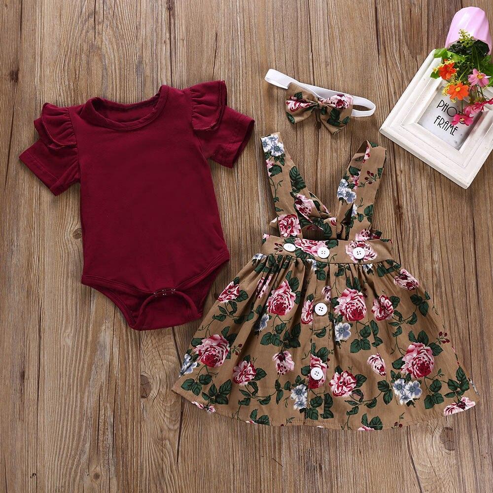 MUQGEW/новейший комплект из 3 предметов для маленьких девочек; Детский комбинезон; Юбка + повязка на голову + комбинезон; Одежда; Повязка на голову с бантом; kiz bebek giyim; #06
