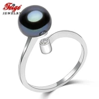 feige trendy style 8 9mm black freshwater pearl ring 100 925 sterling silver ring for womens fine jewelry black gemstone ring