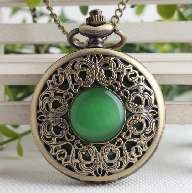 Bronze oco imitação jade pedra colar pingentes Resto de Boa qualidade homens e mulher cadeia fob relógio de bolso presente