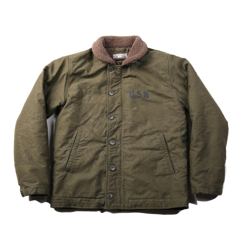 NON STOCK Vintage US Navy N-1 Deck Jacket Winter USN Men's Military Cotton Coat Slim Fit N1
